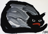 Grey Cat, 2014, acrylic / paper on plywood, 50×70 cm