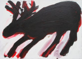 Wounded Elk, 2014, acrylic/ paper on canvas, 50×70 cm