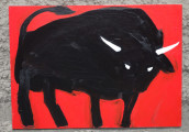 Corrida (Black Bull), 2015, acrylic / paper on canvas, 50×70 cm