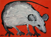 Grey Mouse (on red), 2015, acrylic/paper on wood, 61×85 cm