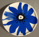Plate Blue Flower, d250 mm, painting with engobe
