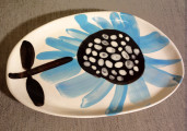 Plate Skyblue Flower, 2016, faience, painyibg with engobe